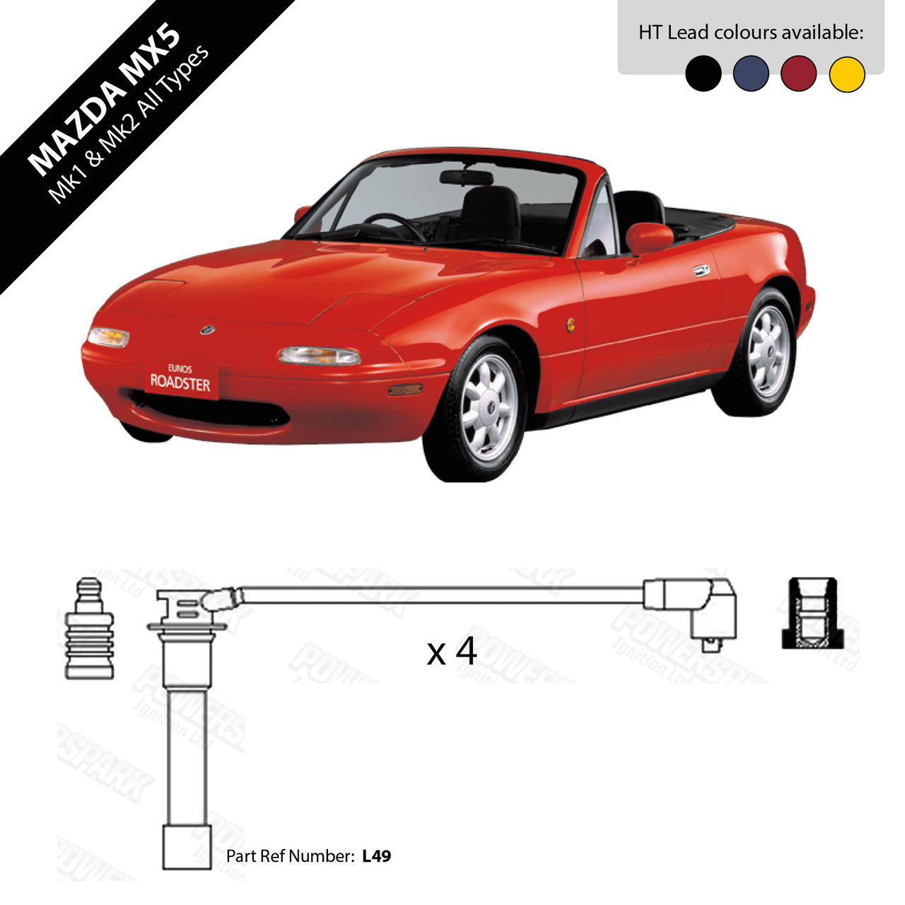 Lucas Mazda MX5 Mk1 and Mk2 HT Leads 7mm