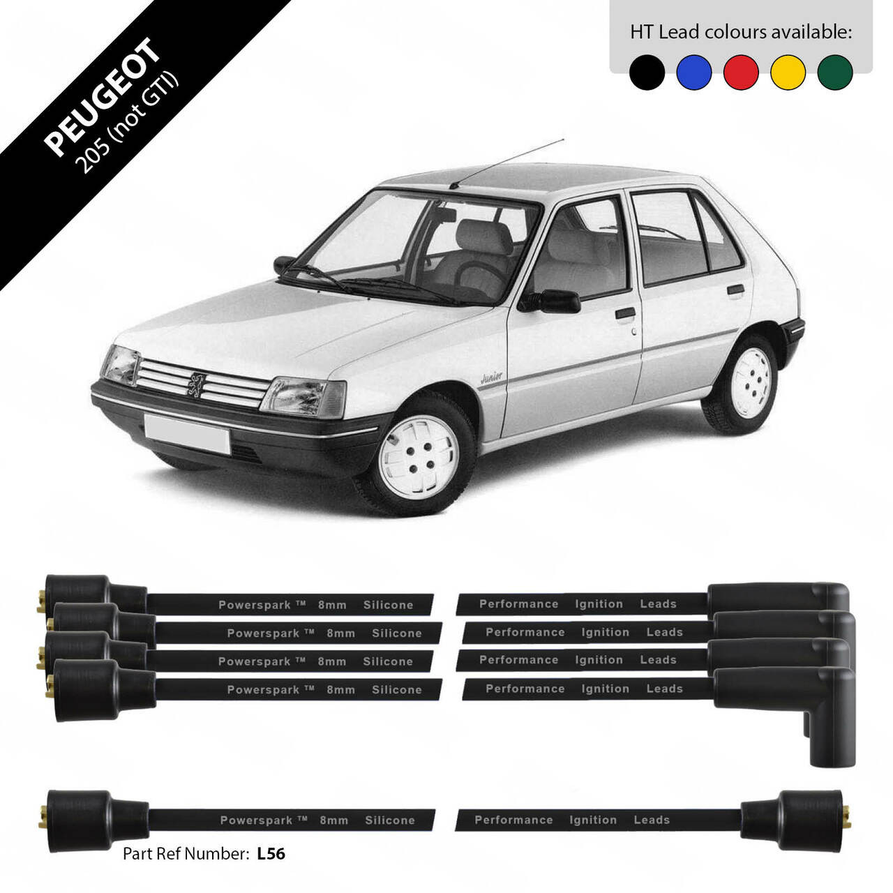 Powerspark Peugeot 205 1300cc HT Leads 8mm Double Silicone