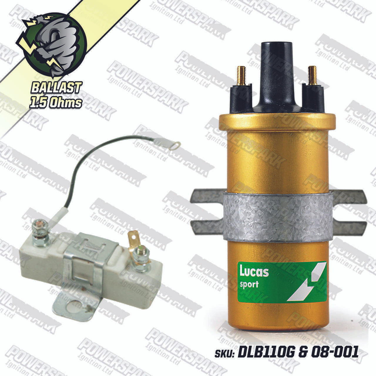 Genuine Lucas DLB110 Ballast Ignition sports coil GOLD with Ballast