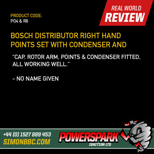 Bosch Distributor Right Hand Points and Condenser Set with Powermax Rotor Arm