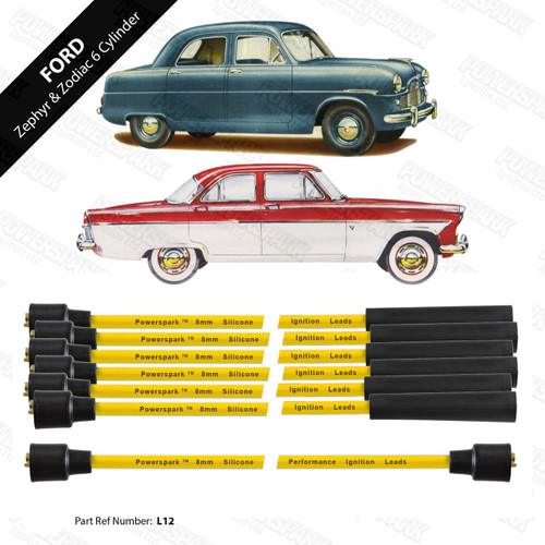Powerspark Ford Zodiac Zephyr Mk2 and Mk3 6 Cylinder HT Leads 8mm Double Silicone