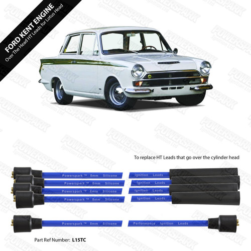 Powerspark Ford Kent Engine with Lotus Cylinder Head Around Block HT Leads 8mm Double Silicone