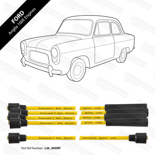 Powerspark Ford Anglia 100E HT Leads 8mm Double Silicone
