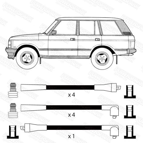 High Volt Range Rover 3.5 V8 87-90 3.9 V8 88-94 Land Rover Defender V8 90-93 HT Leads High Volt OEF964