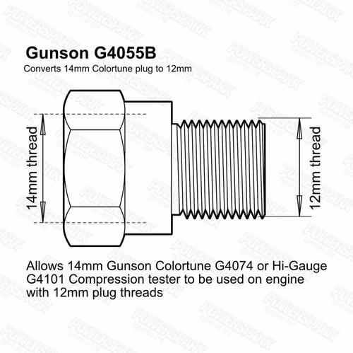 Gunson Gunson Hi Gauge and Colortune Plug Adaptor Kit 12mm Thread G4055B