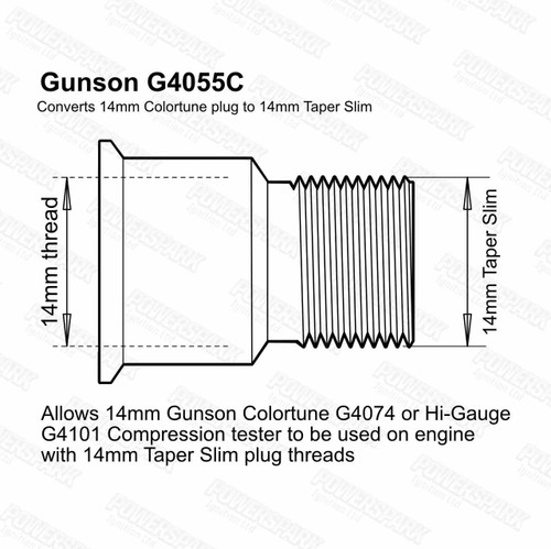 Gunson Gunson Hi Gauge and Colortune Plug Adaptor Kit 14mm Slim Tapered Thread G4055C