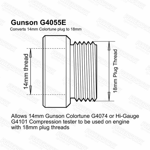 Gunson Gunson Hi Gauge and Colortune Plug Adaptor Kit 14mm to 18mm Thread G4055E