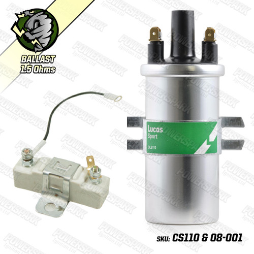 Lucas Genuine Lucas DLB110 Ballast Ignition Coil with 1.6 ohm Ballast Resistor SILVER