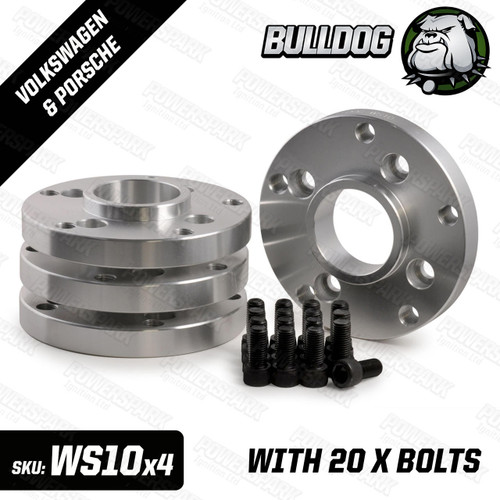Bulldog Set of 4 Bulldog Wheel Adapters to fit Porsche 5 x 130 PCD Wheels to Volkswagen 4 x 100 PCD Hub 20mm Thickness with bolts
