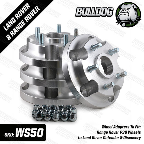 Bulldog Set of 4 Bulldog Wheel Adapters To Fit Range Rover P38 Wheels to Land Rover Defender and Discovery