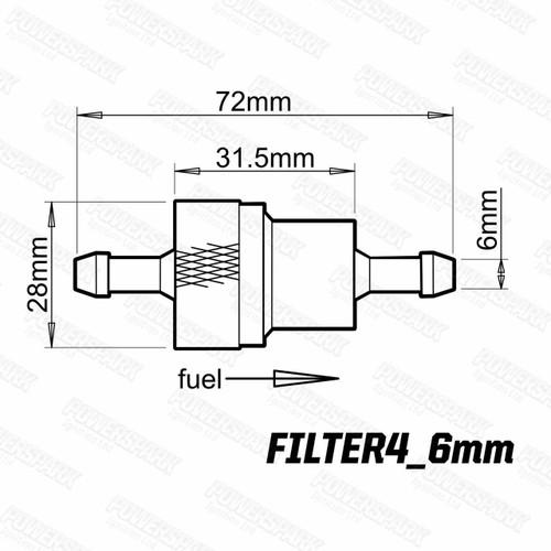 Powermax Powermax Lightweight Alloy Inline Performance Fuel Filter 6mm