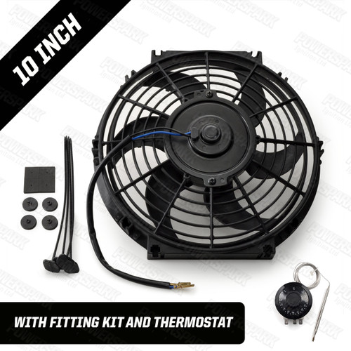 "10"" Powermax Electric Radiator Cooling Fan with Thermostat 220W 12 Volt"