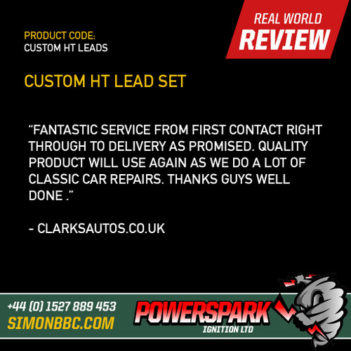 Powerspark Custom Lead Set - 8mm Double Silicone Performance HT Lead - Bare Ends - Bumblebee