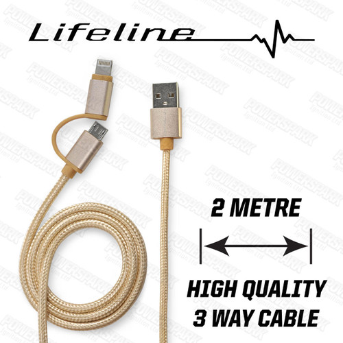 Lifeline 2 Way USB A to USB Micro B and Apple Lightning Cable - Gold 2 Metre