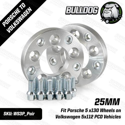 Bulldog 25mm Wheel Adapters to put Porsche 5 x130 Wheels on Volkswagen 5x112 PCD Vehicles Set of 2