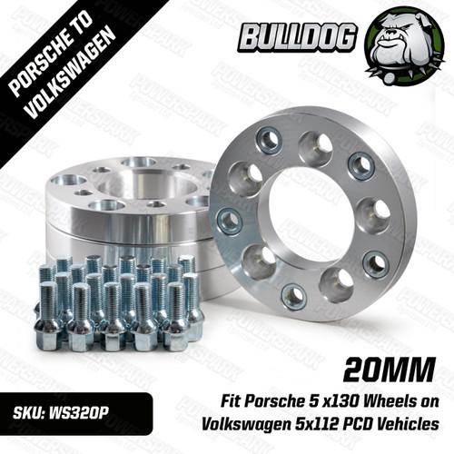 Bulldog 20mm Wheel Adapters to put Porsche 5 x130 Wheels on Volkswagen 5x112 PCD Vehicles Set of 4