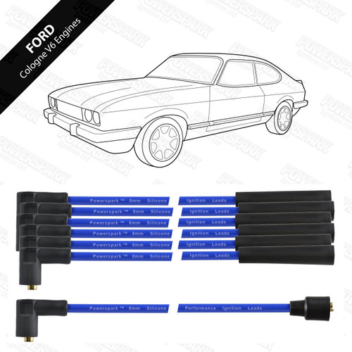 Powerspark Ford Cologne V6 HT Leads 8mm Double Silicone