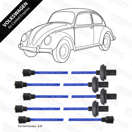 Powerspark VW Air Cooled 1100cc to 1600cc HT Leads 8mm Double Silicone