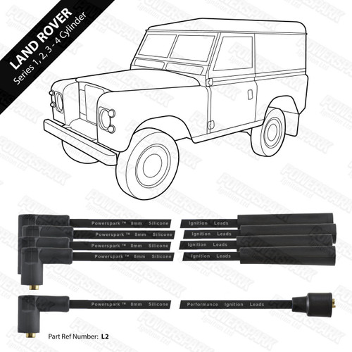 Powerspark Land Rover Series 4 Cylinder Engines HT Leads 8mm Double Silicone