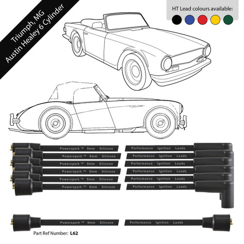 Powerspark Triumph, MG, Austin Healey 6 Cylinder HT Leads 8mm Double Silicone