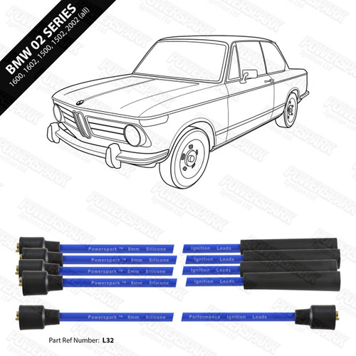 Powerspark BMW 02 Series 1600, 1602, 1502, 1802, 2002tii HT Leads 8mm Double Silicone