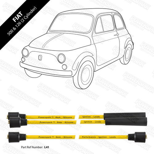 Powerspark Fiat 500 HT Leads 8mm Double Silicone