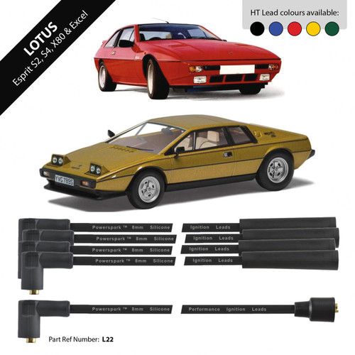 Powerspark Lotus Excel and Esprit HT Leads 8mm Double Silicone