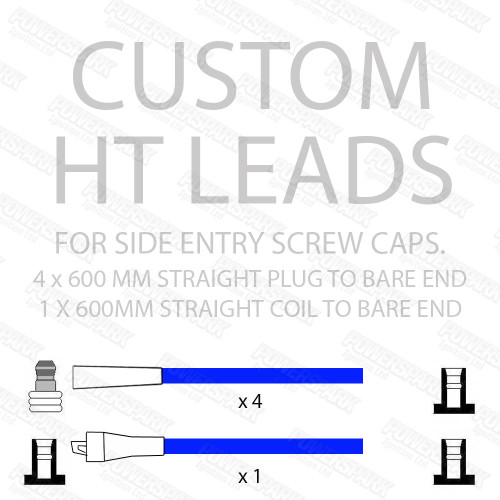 Powerspark Set of 4 Cylinder HT Leads, Straight Spark Plug Terminals with Bare Ends