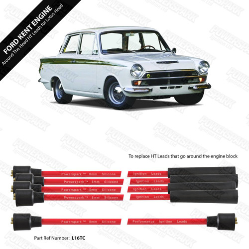 Powerspark Ford Kent Engine with Lotus Cylinder Head Over Top HT Leads 8mm Double Silicone
