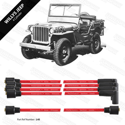 Powerspark Willys Jeep HT Leads 8mm Double Silicone