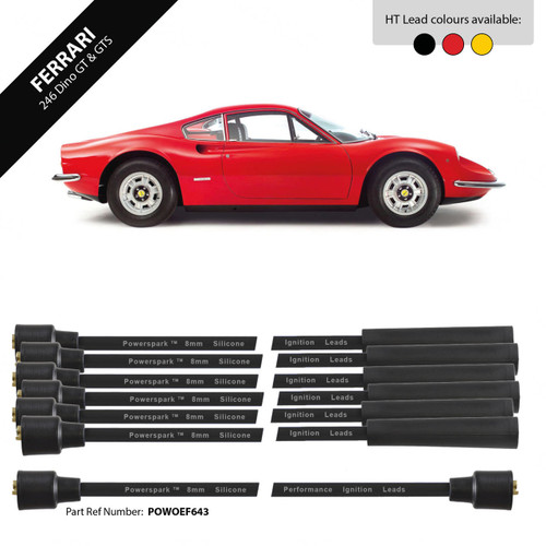 Powerspark Ferrari Dino 206 2.0, Dino 246 GT 2.4, GTS 2.4 HT Leads 8mm Double Silicone