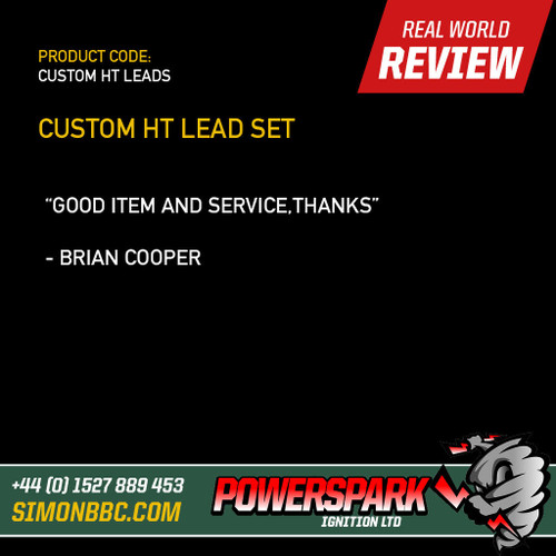 Powerspark Custom 4 cylinder HT Lead Lead Set - 8mm with Push on terminals