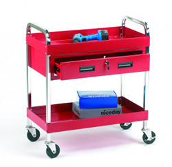 Tool trolley 2 shelves + 1 drawer