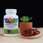 Riordan Clinic Vitamin E Complex, 60 Softgels. Red Transparent Softgels