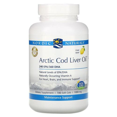 Nordic Naturals Artic Cod Liver Oil, 1000 mg, 180 Soft Gels, bottle