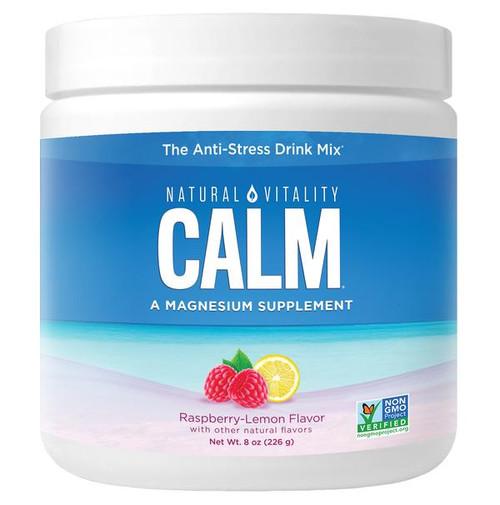 Natural Vitality Calm, Magnesium Supplement, Anti-Stress Drink Mix, Raspberry-Lemon Flavor, 8 oz, 226 g, container