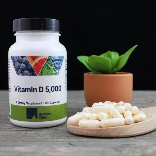 Riordan Clinic Vitamin D 5,000, 120 Capsules. Pale Yellow Capsules