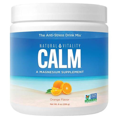 Natural Vitality Calm, Magnesium Supplement, Anti-Stress Drink Mix, Orange Flavor, 8 oz, 226 g, container