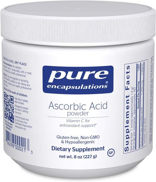 Pure Encapsulations Ascorbic Acid Powder Vitamin C, 8 oz, container