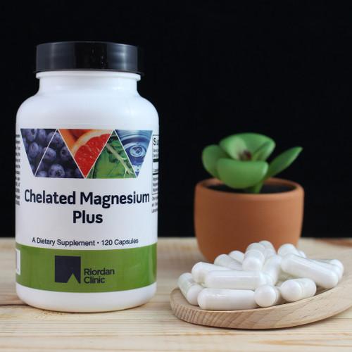 Riordan Clinic Chelated Magnesium Plus, 120 Capsules. White Capsules