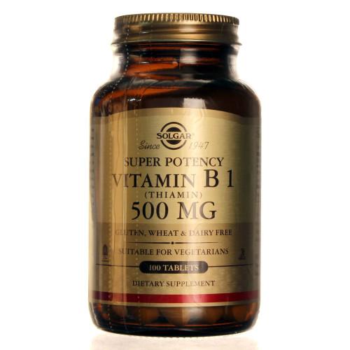 Solgar Super Potency Vitamin B1 Thiamin 500 mg, 100 Tablets, bottle