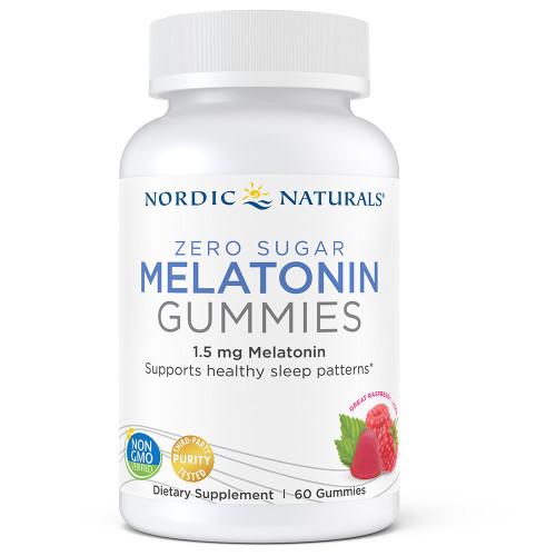 Nordic Naturals Zero Sugar Melatonin Gummies, 1.5 mg Melatonin, 60 Gummies, bottle