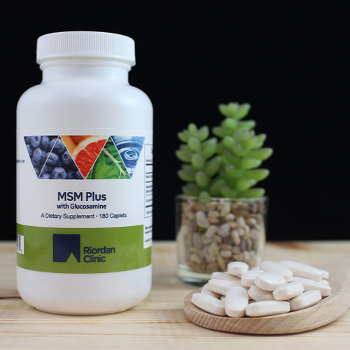 Riordan Clinic MSM Plus with Glucosamine, 180 Caplets. White Caplets