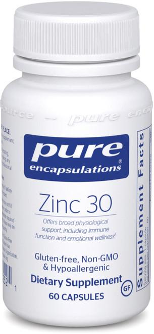 Pure Encapsulations Zinc 30, 60 Capsules, bottle