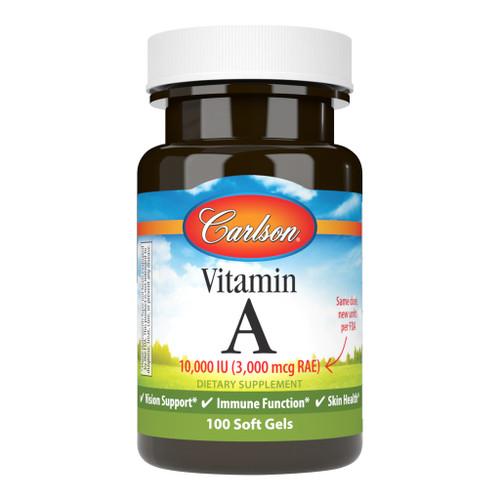 Carlson Vitamin A 10,000 IU, 100 Soft Gels, bottle