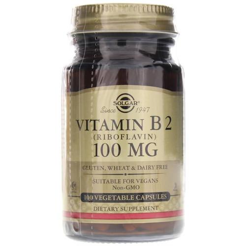 Solgar Vitamin B2 Riboflavin 100 mg, 100 Vegetable Capsules, bottle