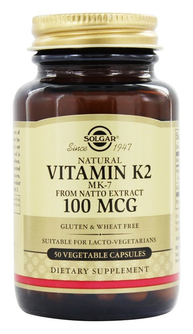 Solgar Natural Vitamin K2 MK-7 100 MCG, 50 Vegetable Capsules, bottle