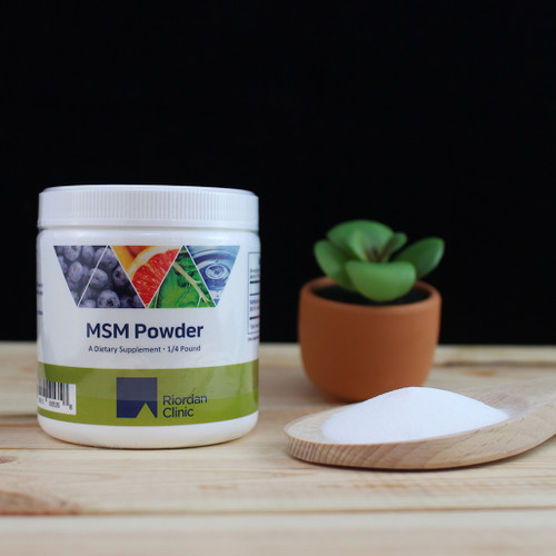 Riordan Clinic MSM Powder, 1/4 Pound. White Powder, container