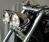 Dual Headlight Head Lamp Bracket Bottom Mount Clamp Motorcycle, Chrome
