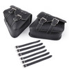 Saddlebags PU Leather Pouch Bag For Sportster XL 883 1200 Black